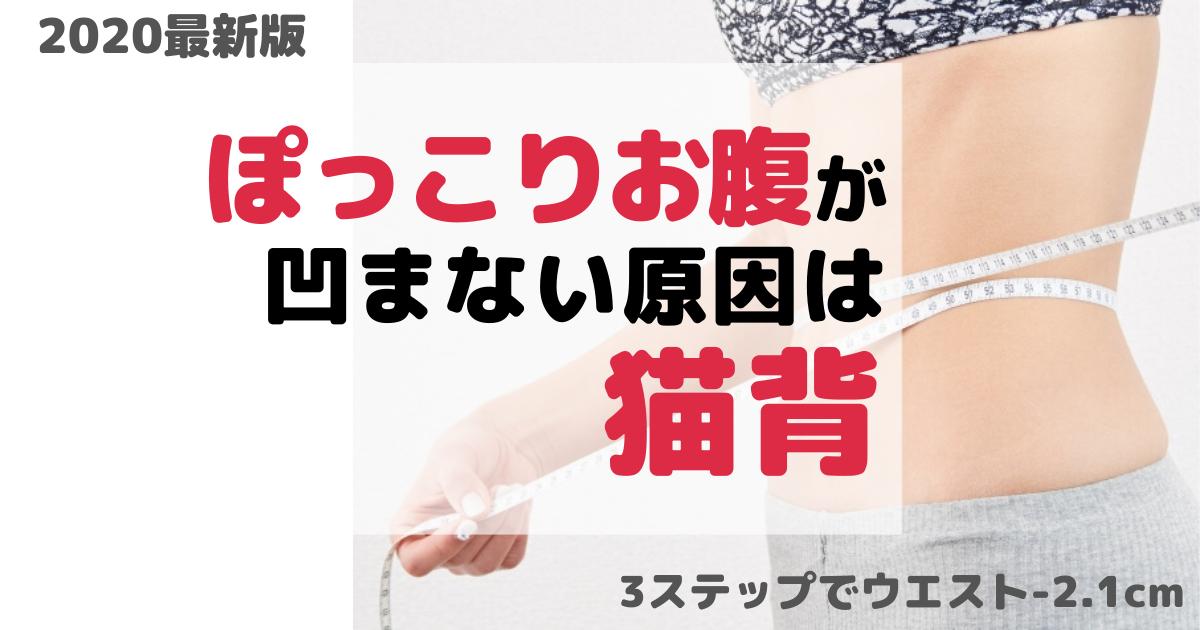 【最新版】ポッコリお腹の原因は猫背!凹ます3つの方法【ウエスト-2.1cm】